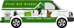 first aid global van delivery service, first aid delivery, sports first aid, emergency pet kits, free delivery of food service gloves, preparedness kits, emergency pet kits