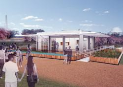 Florida International University's Solar Decathlon 2011 PerFORMDance House rendering showing two exterior walls of 21 NanaWall panels that fold open.  (Credit: U.S. Department of Energy Solar Decathlon)