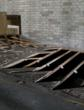 During demolition of the factory the original oak sub flooring and floor joists are revealed.