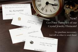 Free samples of crystal jewelry elements.