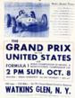 Poster of the very first Grand Prix of the United States for Formula One World Championship of Drivers & Manufacturers Championship Cup