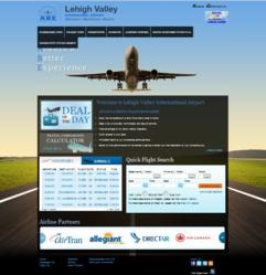 Screenshot image of new website for Lehigh Valley International Airport