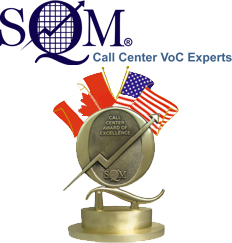 SQM company logo and call center award of excellence