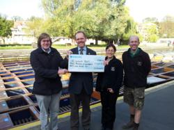 Bat tour cheque handed over by Scudamore's Punting Company in Cambridge to the Wildlife Trust