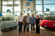 Left to right Werner Mersch (VW Corp), Evelyn Calip (winner), Mike Sullivan (LAcarGUY owner), Rob Calip (winner), Rita Niemeyer (Pacific VW General Manager),