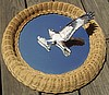 Osprey (Fish Hawk) Mirror Mounted hand carved/ sculpture WICKER FRAME