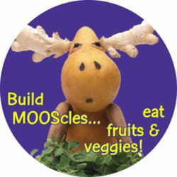 Moose Food Character on Colorful Sticker Encourages Healthy Eating!