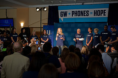 "The university held the ""GW + Phones = Hope"" kick-off rally today as part of a university-wide campaign to collect 20,000 used cell phones by March 2012."