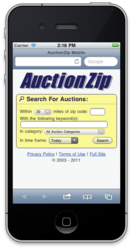 auctionzip, auctions, search, local, mobile, ipod, ipad, smartphone, blackberry