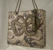 19th century French silver applique on charcoal and silvery gld Fortuny fabric