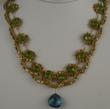 1920's French braid embellished with faceted Peridot and London Blue Topaz