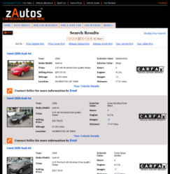 zAutos.com Used car search results page