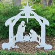 "Standard Nativity Set: 46.5"" Wide x 50"" Tall x 23"" Deep. Composed of a 1/2"" Thick Marine Grade Plastic Sheet Built To Last"