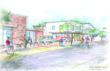 Rendering of new PTA Thrift Shop plaza in Carrboro