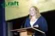 "Jennifer Lazzarini, 2nd Grade Teacher of Hubbard Elementary and RAFT Member speaks at the RAFT (Resource Area for Teaching) 2011 Annual 'Showcase of Creativity' Gala held on Oct 5. Says Jennifer, ""RAFT is an organization that reaches out to make a differe"