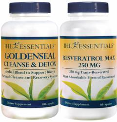 Goldenseal Cleanse & Detox and Resveratrol Max by IHL Essentials