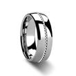 Tungsten ring with palladium inlay