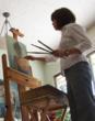 Image of Julie Snyder, artist at work.