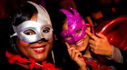 Office Christmas masquerade smiles