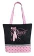 Dance bag tote beautifully embroidered ballet shoes and ribbons with grosgrain ribbon trim. Can be personalized.