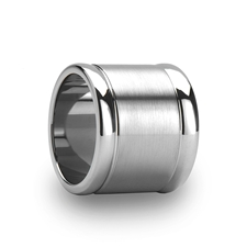 Flat Brushed Finish Center Tungsten Ring with Polished Edges