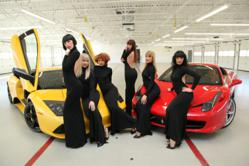 Girls from MGM Grand's Crazy Horse Paris at Exotics Racing