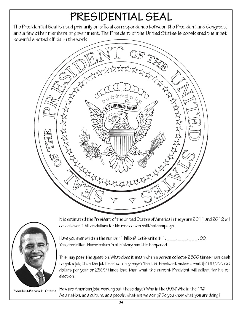 Adult Best Presidential Seal Coloring Page Images cute occupy a grown up coloring book novel released by really big page 34president barack h obama and presidential seal gallery images