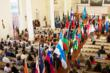 United Nations Day at Oneness-Family School. Diplomats representing 50 nations participate in the Procession of Flags celebrating the rich diversity of our global heritage.