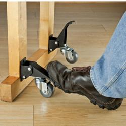 Rockler Caster Kit With One Touch Lift Mechanism Mobilizes Furniture Appliances And Shop Tools