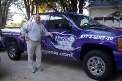 Bill Kavanaugh, Window Genie Northeast Atlanta, displays his eye-catching Geniemobile