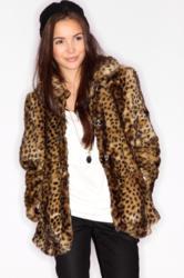 Boohoo Faux Fur Leopard Print Coat