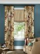 Layered window treatment in Emperor/Ivory from CurtainsMade4U.com.