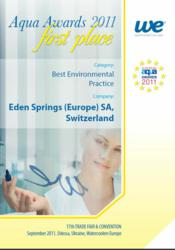 Eden Springs wins 1st prize for best environmental practice