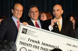New Jersey's West Orange High School teacher Frank Iannucci, Jr, (right) accepts $25,000 Milken Educator Award from Milken Family Foundation Co-Founder Mike Milken (left) and West Orange High School Principal Arthur J. Alloggiamento (middle).