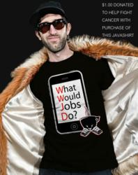 A Steve Jobs dedicated t-shirt by Javaboi Industries. &quot;WWJD&quot;