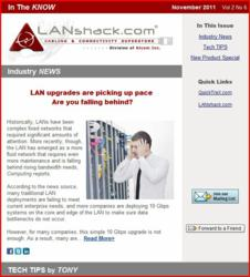 Sample LANshack e-newsletter