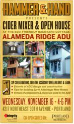 Cider Mixer & Open House at Green Accessory Dwelling Unit, November 16, 2011