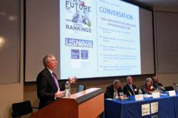U.S. News & World Report Editor Brian Kelly moderates a panel during a summit with medical school deans on the U.S. News medical school rankings