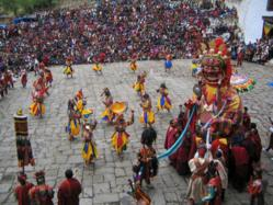 Dancers performing during the ceremony of Bhutan Paro Festival