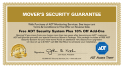 Your Alarm Now Reveals the Release of ADT Security Move Certificate for Every Purchase of their Home Security Systems
