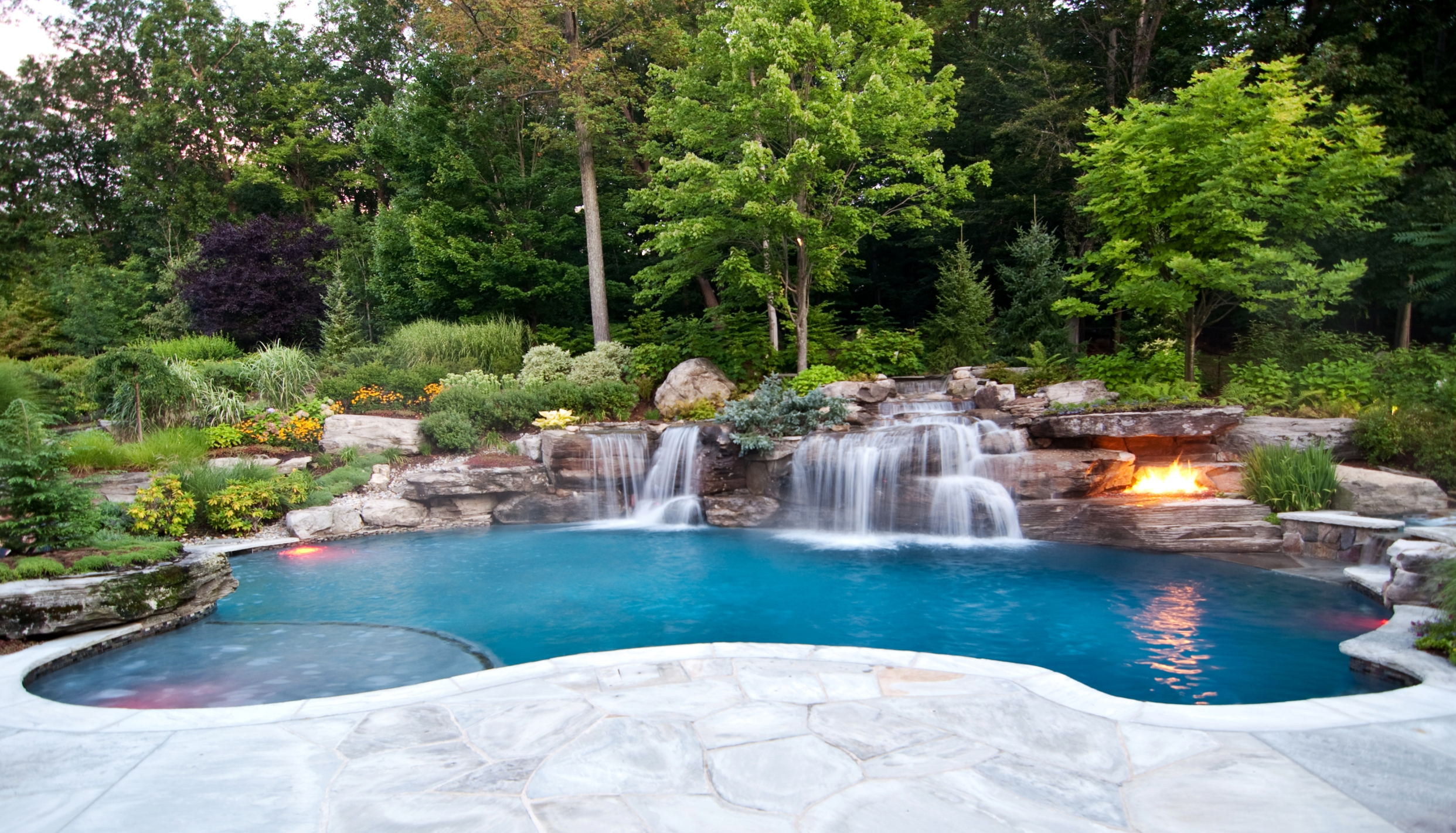 Captivating Poolside Waterfalls Garden Swimming Pool Decorations
