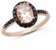 Ice.com Morganite & Black Diamond Cocktail Ring Set In Pink Gold
