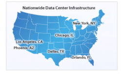 Map of U.S. with Atlantic.Net data center locations