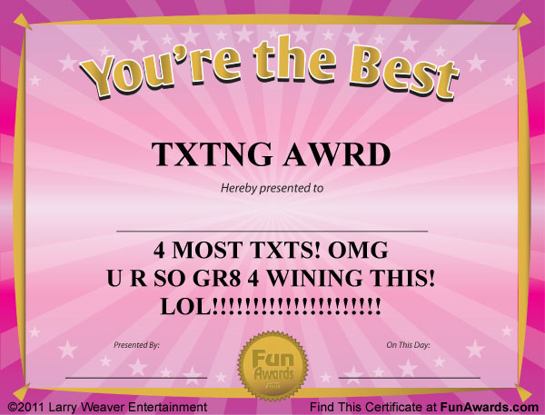 Funny Award Certificates – 101 Funny Awards to Give Friends, Family ...