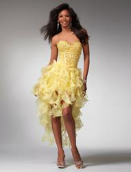 Yellow high low prom dress 1519