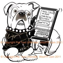 The WoofTF Biker Bulldog | © Copyright Pet Text Unlimited