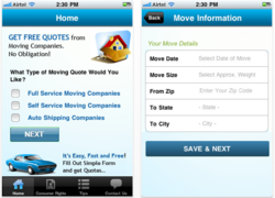 Moving Companies Quotes on iPhone