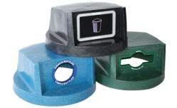 recycling containers, recycling bins, trash can, trash bin.