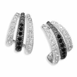 Sterling Silver Crystal Hoop Earrings