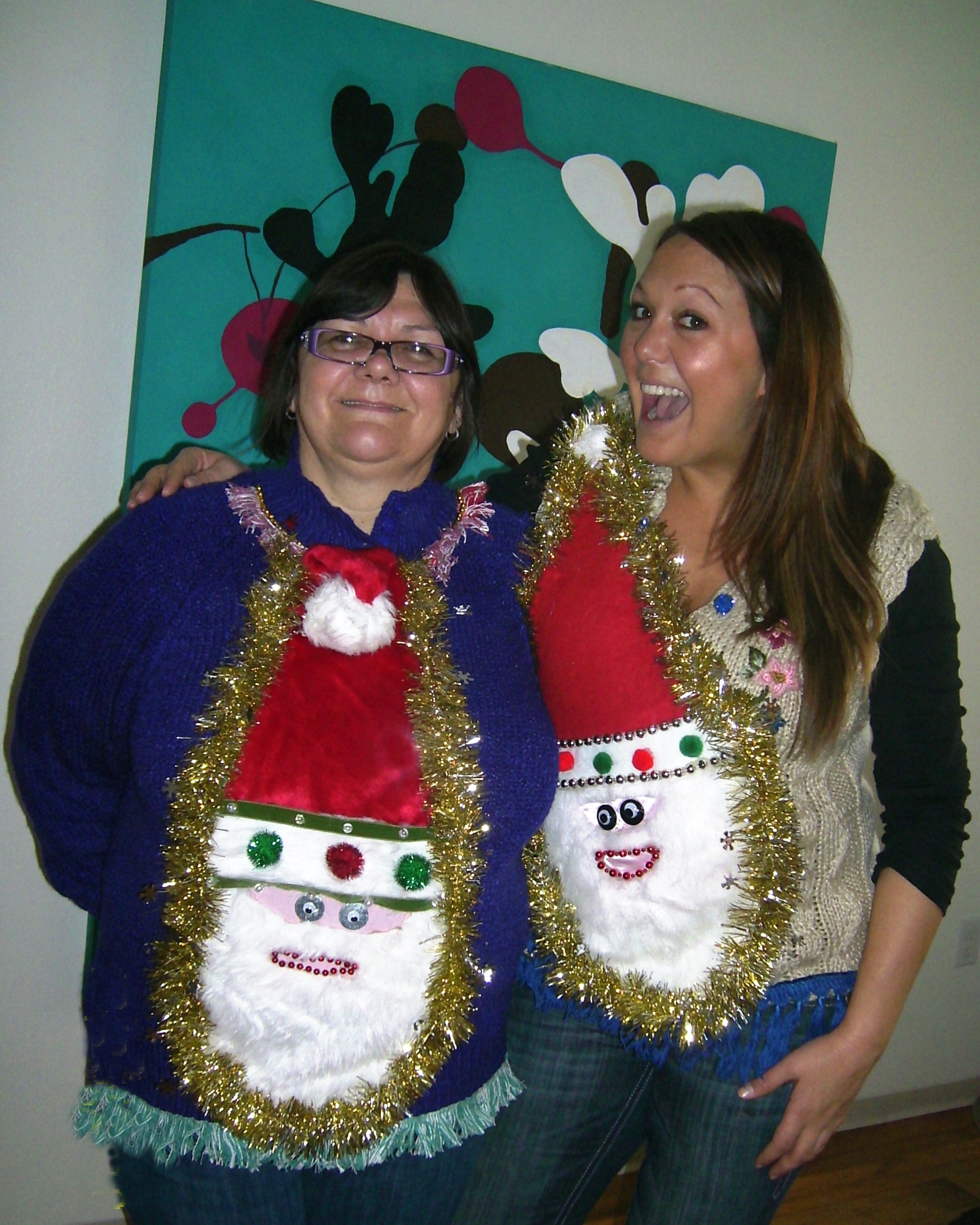 Ideas For Ugly Christmas Sweater Party Part - 33: Ugly Christmas Sweater Party Twins In Wacky Santa Sweaters From My Ugly  Christmas Sweater, ...